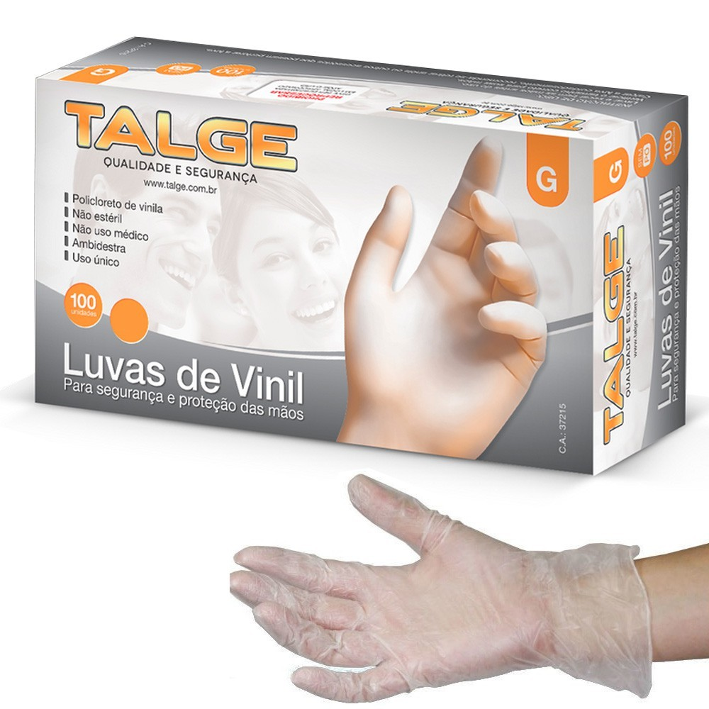 Luva Vinil Talge sem Pó c/ 100