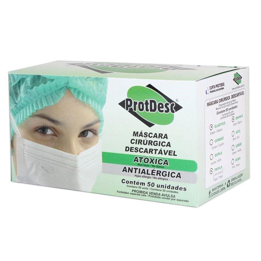 Máscara Descartável Branca Protdesc com 50
