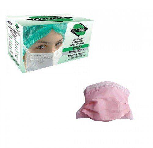 Máscara Descartável Rosa Protdesc  - 50 unidades