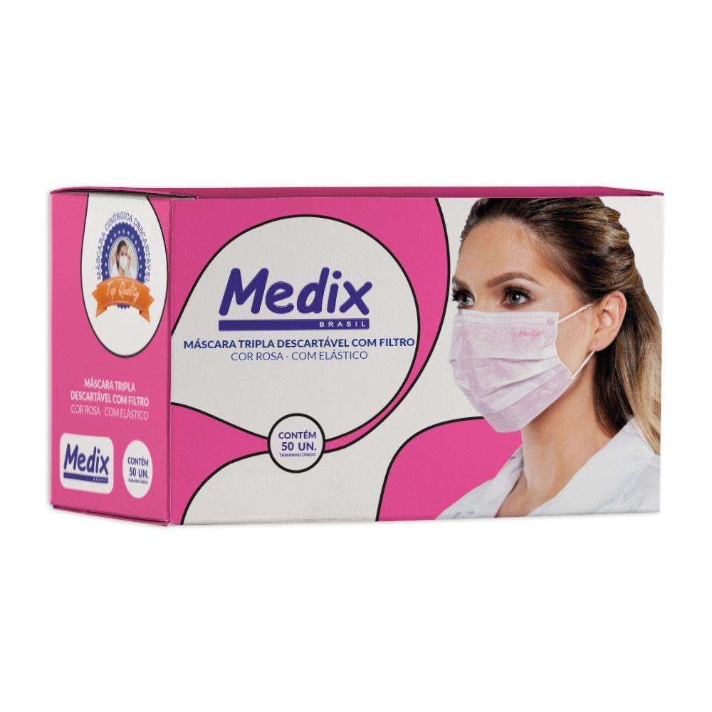Máscara Rosa Medix c/ 50