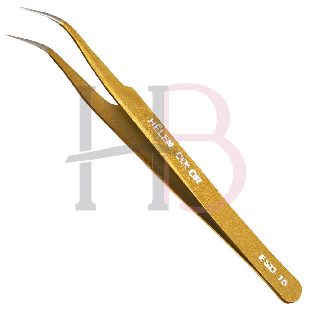 Pinça para Cílios Ponta Curva Dourada - Helen Color