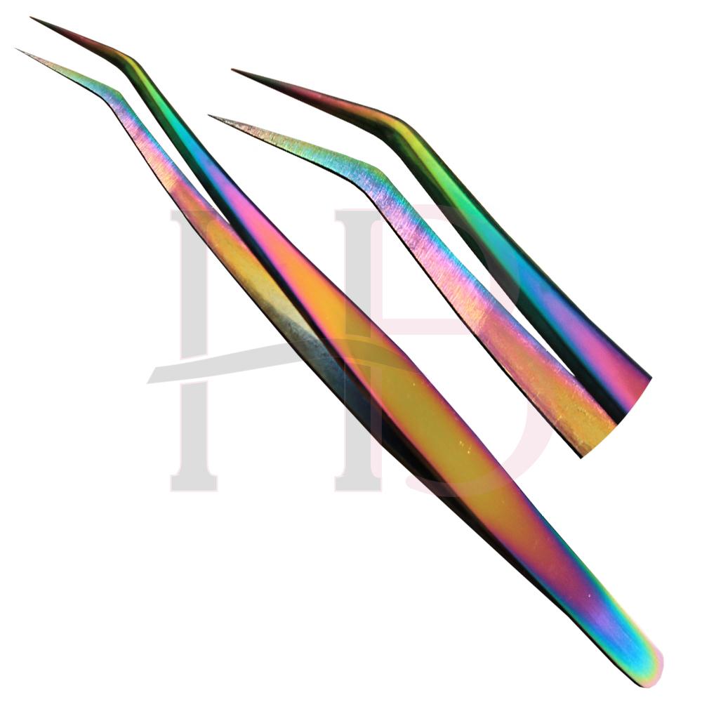 Pinça para Extensão de Cílios Curva KS - Multicolor