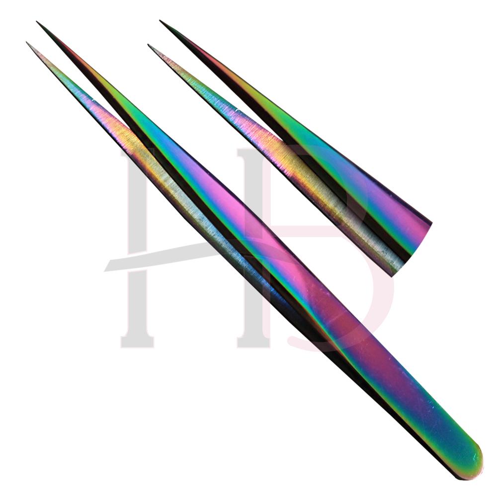 Pinça para Extensão de Cílios Reta Fina KS - Multicolor