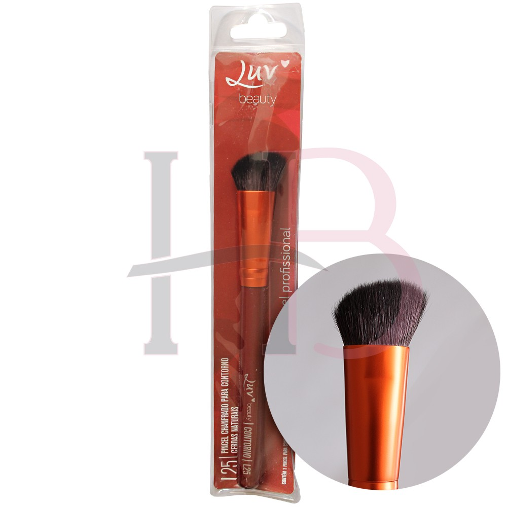 Pincel Para Contorno Chanfrado Com Cerdas Naturais Luv Beauty L25