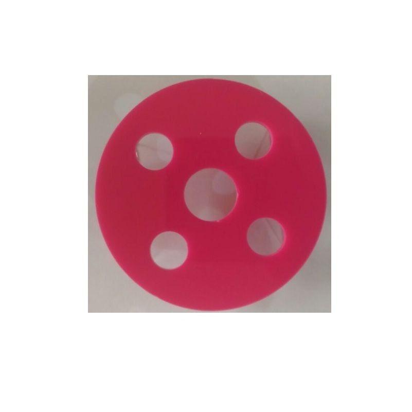 Porta Batoque em Acrílico com 5 Furos - Rosa