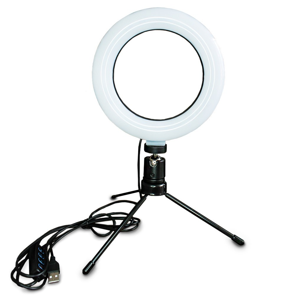 Ring Light USB com Tripé de Mesa - 16 cm