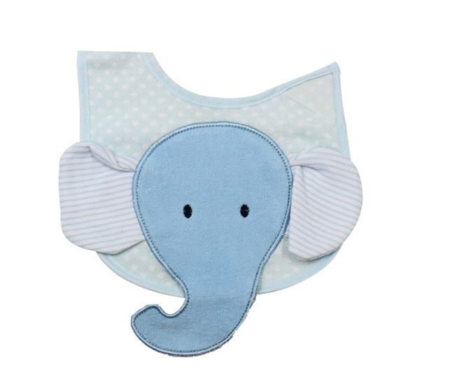 Babador Bordado Elefantinho Azul Colibri