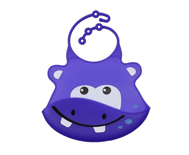 Babador de Silicone c/ Cata Migalhas Hipopótamo
