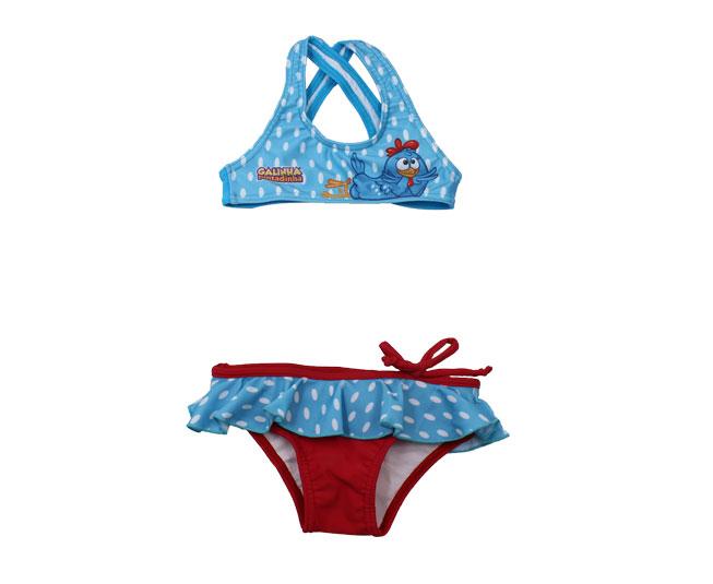 Biquíni Infantil Tip Top Galinha Pintadinha Azul / Vermelho Estampado