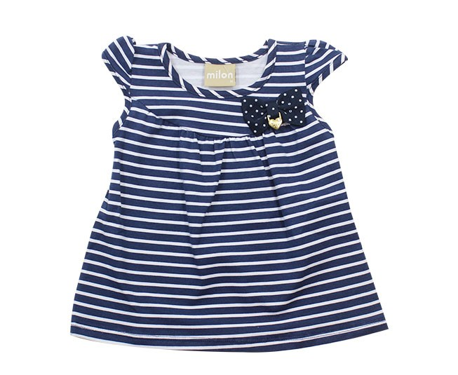 Blusa Azul Marinho Listrada com Laço Milon