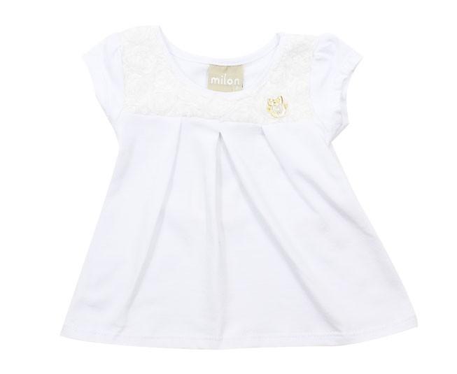 Blusa Branca com Flores Milon