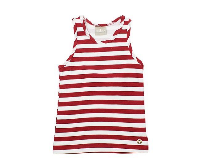 Blusa Feminina Listrada Vermelha Milon