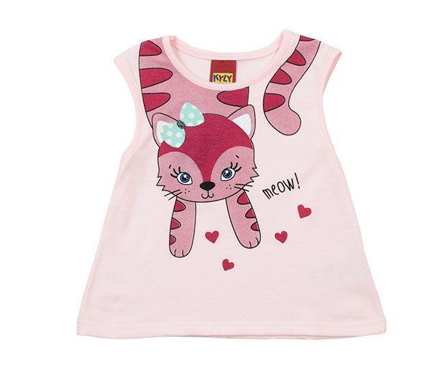 Blusa Feminina Rosa Estampada Gatinha Kyly