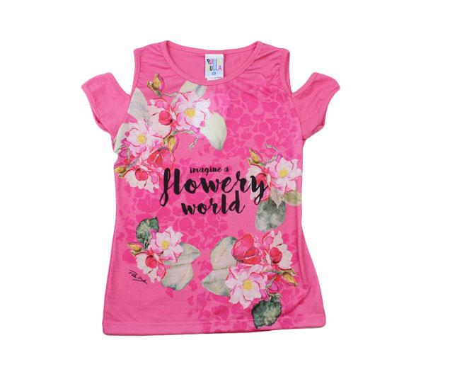 Camiseta Feminina Regata Florida Rosa Pulla Bulla