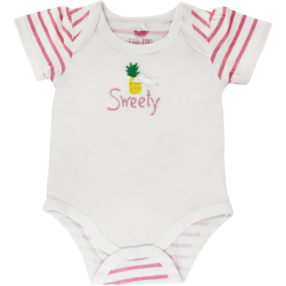 Body Bebê Menina Branco Abacaxi