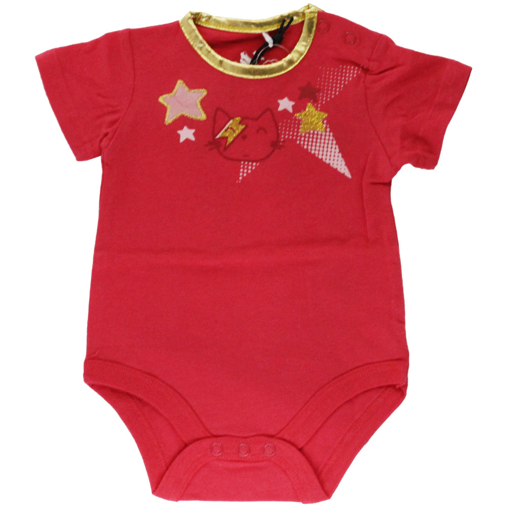 Body Bebê Menina Tip Top Vermelho Gatinha