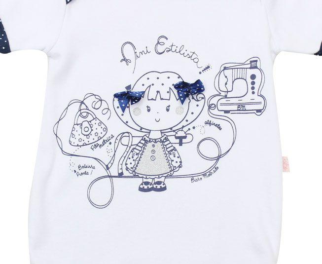 Body Feminino Manga Curta Mini Estilista Branco com Azul Marinho Bicho Molhado