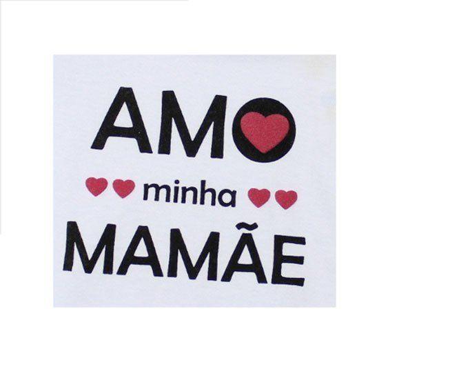 "Body Feminino Manga Longa Branco ""Amo Minha Mamãe"" Minilab"