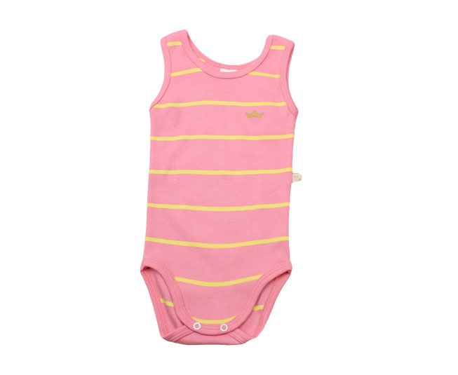 Body Feminino Regata Listrado Amarelo e Rosa Best Club