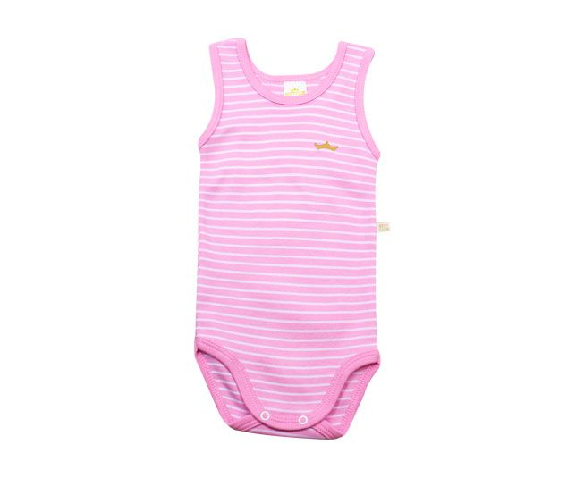 Body Feminino Regata Listrado Rosa com Branco Best Club