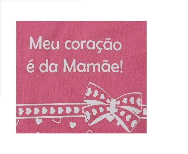 """Body Feminino Regata Rosa """"Meu Coração é da Mamãe"""" Minilab"""