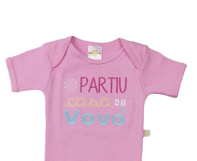 """Body Feminino Rosa """"# Partiu Casa da Vovó"""" Best Club"""