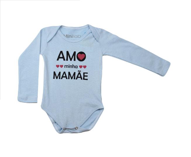 Body Azul Claro Amo Mamãe Minilab