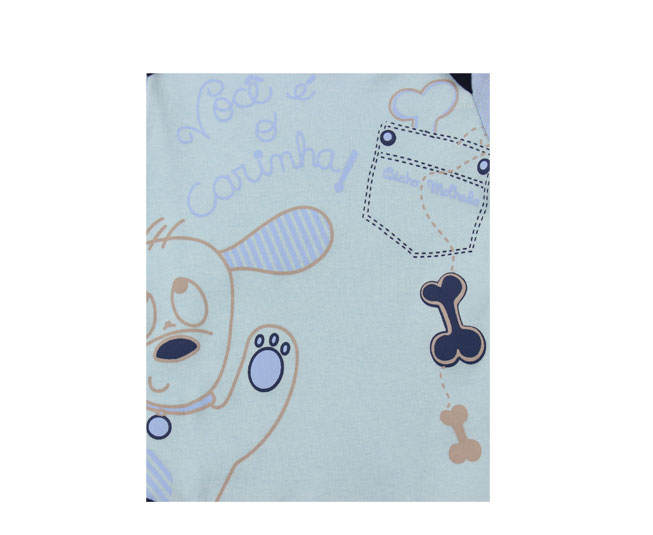 Body Masculino Manga Longa Azul Cachorrinho Bicho Molhado
