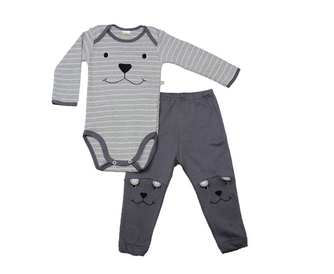 Conjunto de Body Masculino Cinza e Branco Cachorrinho Best Club