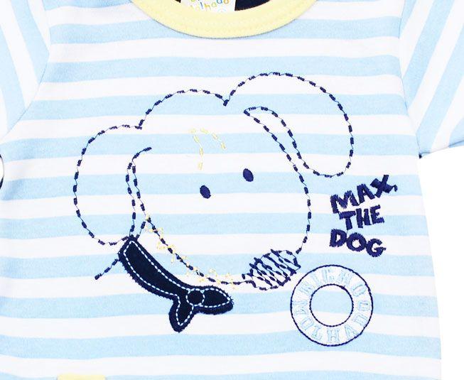 Body Masculino Manga Curta Cachorrinho Listrado Bicho Molhado