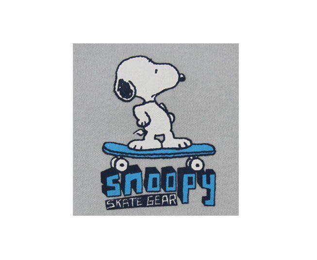 "Body Masculino Manga Curta Cinza Estampado Snoopy ""Skate Gear"" Pimpolho"