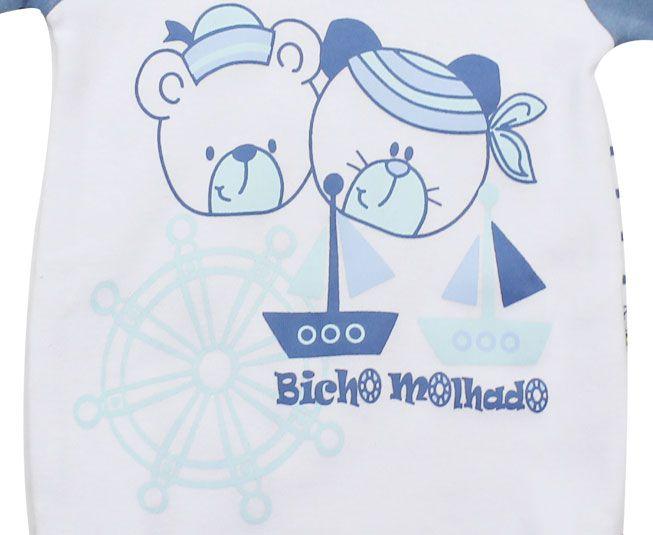 Body Masculino Manga Curta Ursos Marinheiros Branco Bicho Molhado