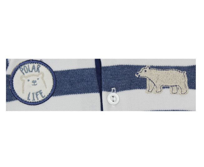 Body Masculino Manga Longa Azul e Branco Urso Polar Best Club