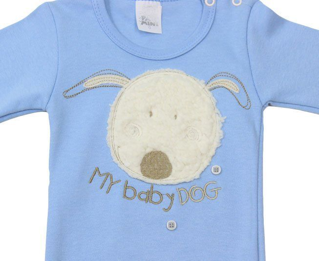 "Body Masculino Manga Longa Azul ""My Baby Dog"" Pati Mini"
