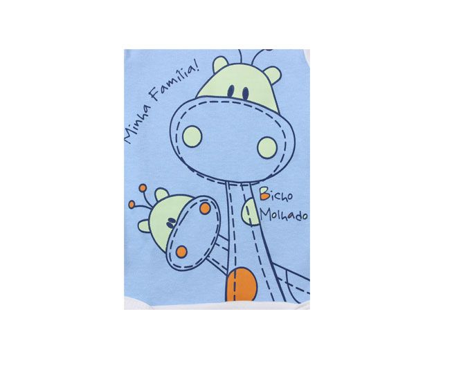 "Body Masculino Manga Longa Branco com Azul Girafa ""Minha Família"" Bicho Molhado"