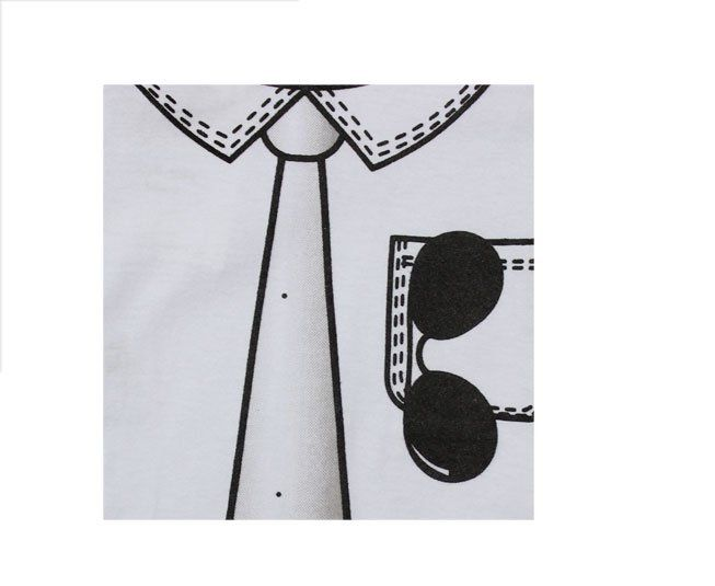 Body Masculino Manga Longa Branco Gravata Com Óculos Minilab