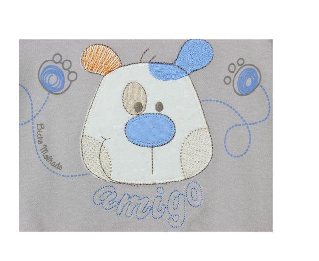 Body Masculino Manga Longa Cinza com Laranja Cãozinho Amigo Bicho Molhado