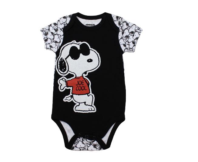 Body Masculino Preto / Branco Snoopy Joe Cool Pimpolho