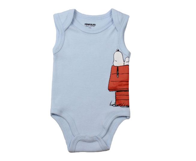 Body Masculino Regata Azul Claro Snoopy Pimpolho