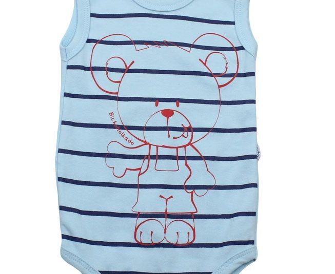 Body Masculino Regata Azul Listrado Ursinho Bicho Molhado