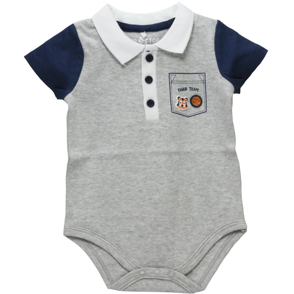 Body Polo Bebê Tip Top Cinza