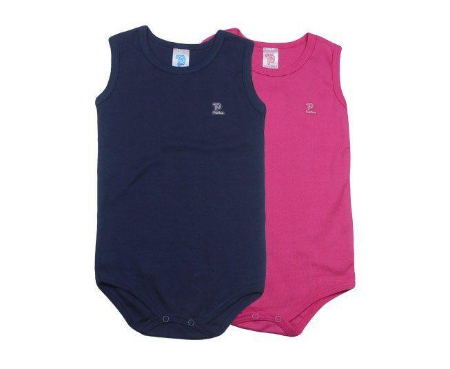 Body Regata Duas Cores Pink e Azul Marinho Pulla Bulla