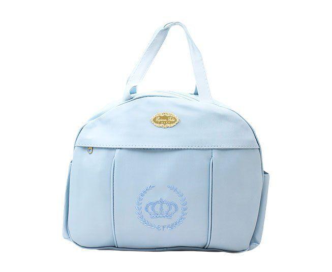Bolsa Maternidade Azul Claro Coroa Espera Feliz