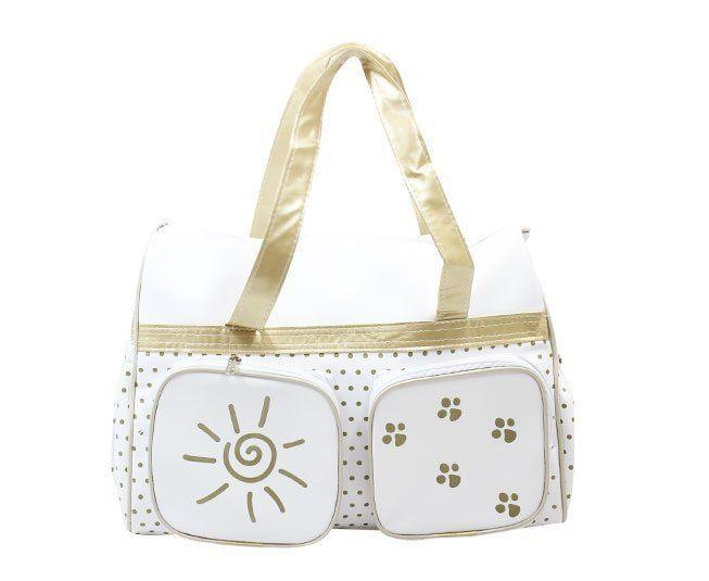 Bolsa Maternidade Branco com Dourado Sol Nenê Belo
