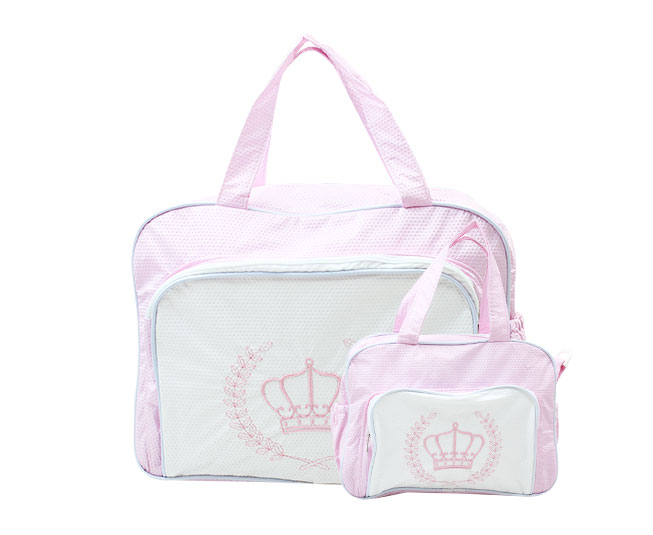 Bolsa Maternidade com Frasqueira Coroa Rosa Mave Baby