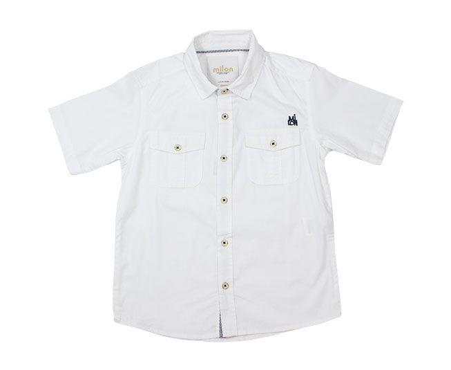 Camisa Masculina Manga Curta Branca Milon