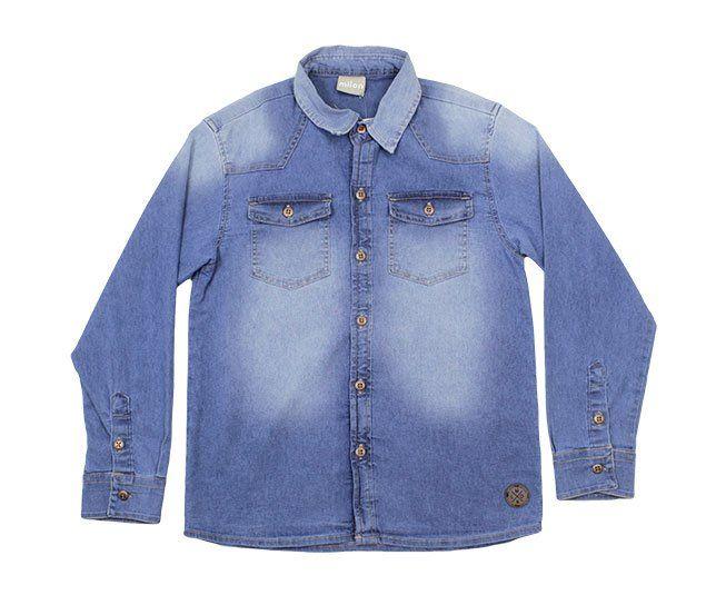 Camisa Masculina Polo Jeans Manga Longa Milon