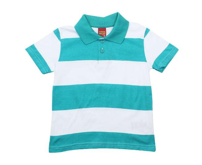 Camisa Polo Listrada Verde com Branco Kyly