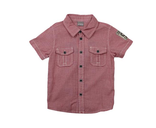 1eec897c2862f ... Camisa Vermelha Listrada de com Botões e Gola Brandili Mundi - Criança  e Bebê ...