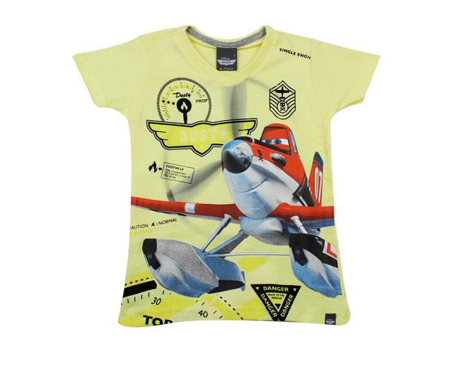 Camiseta Amarela Aviões Gola V Malwee